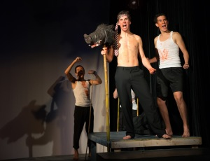 Enzo Sapojnikoff as Maurice, Raymónd McCarthy as Jack, and Johannes de Quant as Roger/photo by Henry So