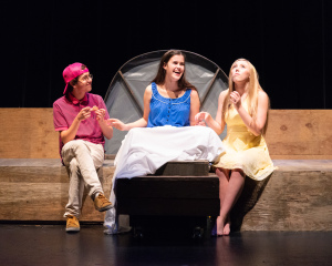 Gil Weissman as Buddy, Anna Feenstra as Marily, Monica Hobbs as Maize/photo by Rob Wilen