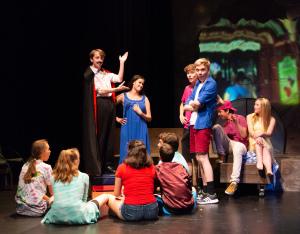 Austin Nipper as Mr F'Dango, Anna Feenstra as Marily, & Cast/photo by Rob Wilen